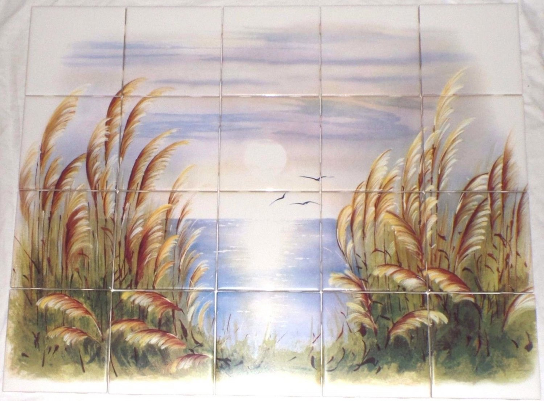 "The Morning Lake Ceramic Tile Mural 20 pc 4.25"" Kiln Fired Back Splash"
