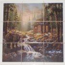"Bear Cabin Ceramic Tile Mural Back Splash 9pcs 4.25"" Woods Stream Kiln Fired"