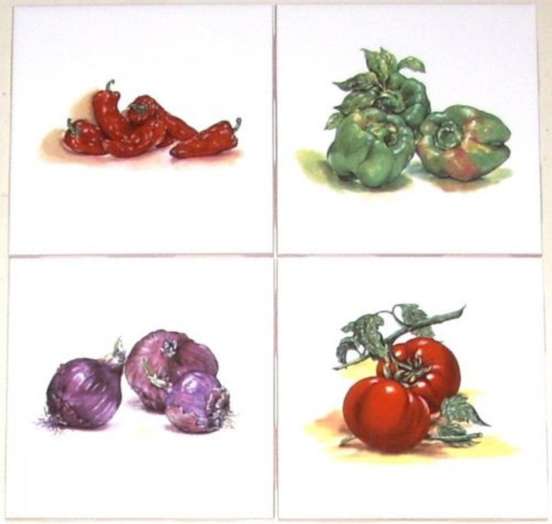"""Vegetable Ceramic Tile Tomato Onion Peppers Kiln fired set of 4 / 4.25"""""""