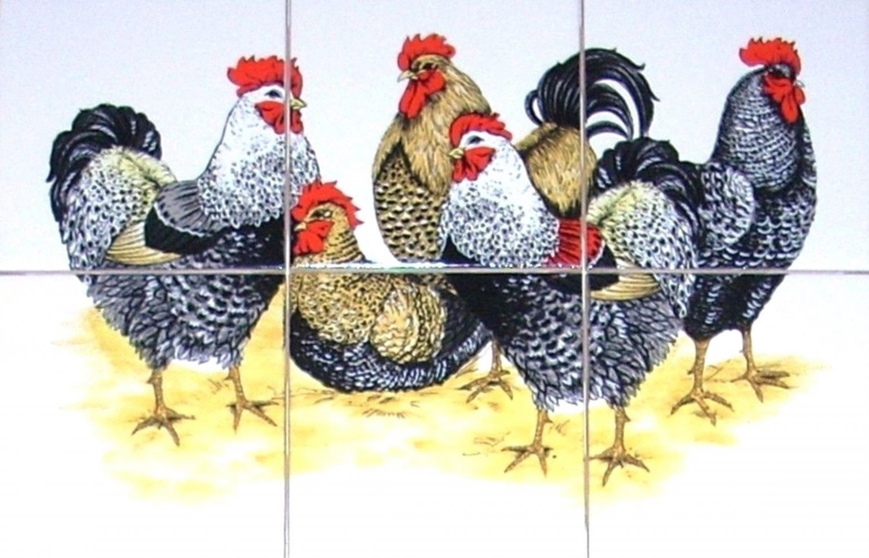 "Chicken Rooster Ceramic Tile Mural 6pcs 4.25"" Kiln Fired Decor Black Speckled"
