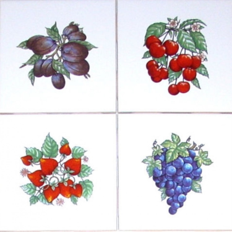 "Bountiful Fruit Accent Tiles 4 of 4.25"" Kiln Fired Decor Back Splash set of 4"