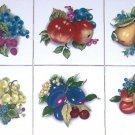 "Fruit Ceramic Tiles set of 6 of 4.25"" Beautiful Cluster of Assorted Kiln Fired"