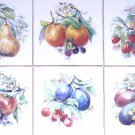 "Fruit Ceramic Tile Mural Accent 6 of 4.25"" x 4.25"" Kiln Fired Wall Decor Grapes"