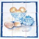 "CLOSEOUT Lemon Fruit Ceramic Tile Mural Back Splash 9pcs 4.25"" x 4.25"" Kiln Fired Decor"