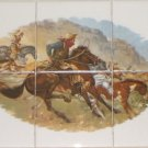 "Remington Horse Rustlers Ceramic Tile Mural 6 of 4.25"" Backsplash Kiln Fired"