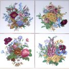 "CLOSEOUT Victorian Flower Bouquet Ceramic Tile Foxglove 4.25"" Kiln Fired Decor"