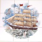 Ship Ceramic Tile Mural Atlantic Mermaid 9pc 4.25 Ocean Backsplash Kiln Fired