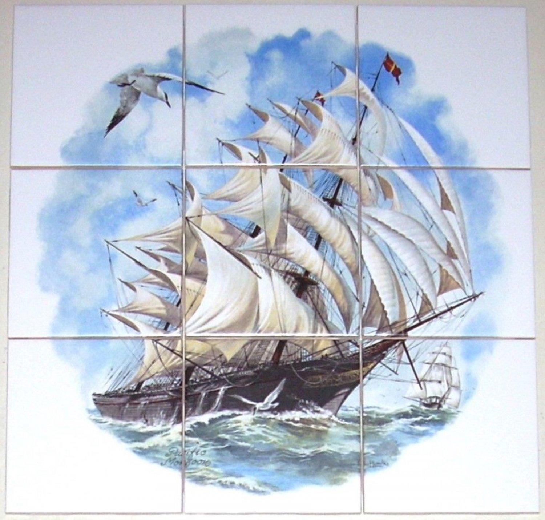 Ship Ceramic Tile Mural Pacific Monsoon 9pc 4.25 Ocean Backsplash Kiln Fired