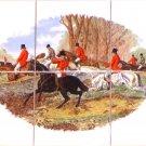 English Fox Hunt Ceramic Tile Mural Red Coat Horse Hound Dogs Kiln Fired #3