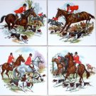 "Closeout Fox Hunt Ceramic Tiles Horse Equestrian Rider 4 of 4.25"" Kiln Fired Decor"