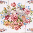 "Dove Bird Ceramic Tile Mural 6pcs 4.25"" Pink Rose Blue Ribbon White Kiln Fired**"