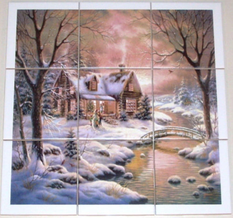 "Closeout Winter Ceramic Tile Mural Woods Cabin Stream 9 of 4.25"" Backsplash Kiln Fired"