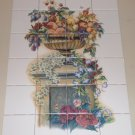 "Large Urn of Fruit Ceramic Tile Mural Backsplash Decor 24pc 4.25"" Kiln Fired"