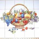 """Bountiful Fruit Basket Ceramic Tile Mural 20pc 4.25"""" Kiln Fired Grapes Berries"""