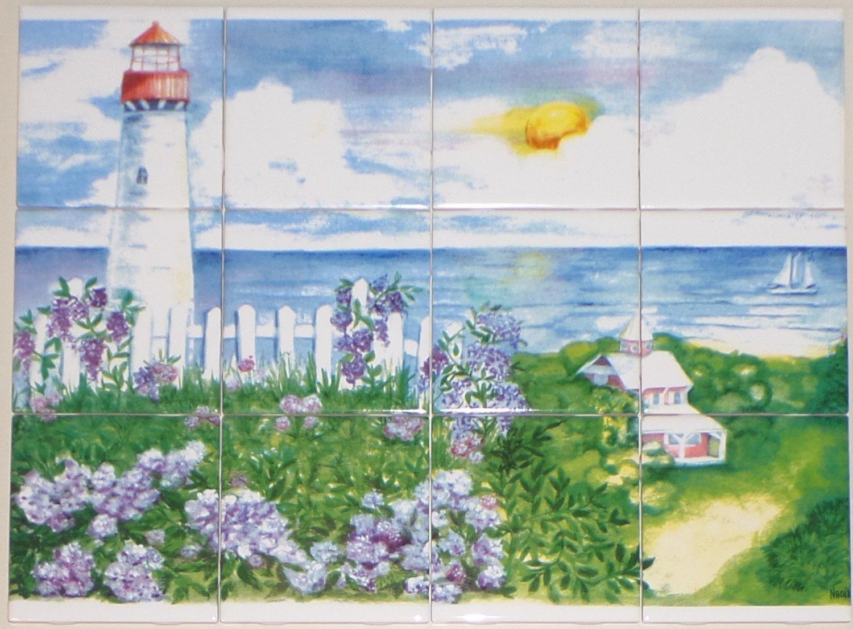 """Light House Ceramic Tile Mural 12pcs 4.25"""" x 4.25"""" Kiln Fired Back Splash Decor"""