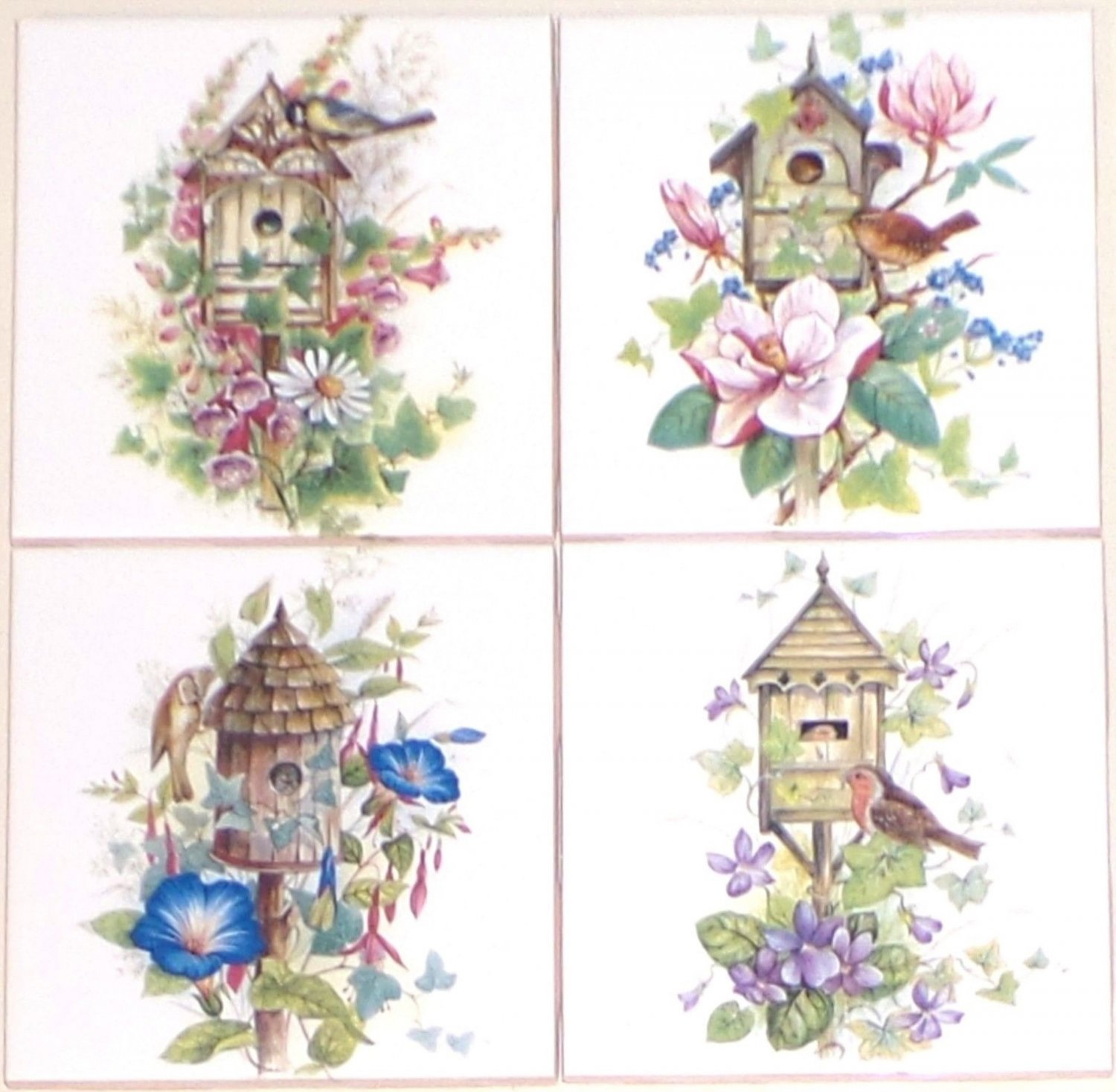 "CLOSEOUT Bird House Ceramic Tile Magnolia Flower set of 4 Assort 4.25"" Kiln Fired Decor"