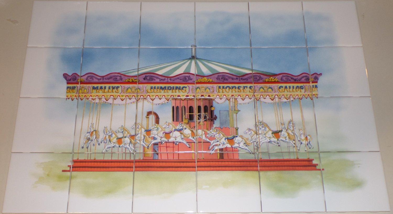"Carousel Ceramic Tile Mural Large Kiln Fired Back Splash 24 pcs 4.25""x 4.25"""