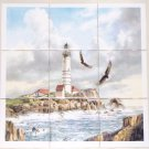 Light House Ceramic Tile Mural Eagles 9pc 4.25 Ocean Backsplash Kiln Fired