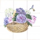 "CLOSEOUT Hydrangea Basket with Hummingbird 9 pc of 4.25"" Ceramic Tile Mural Back Splash"