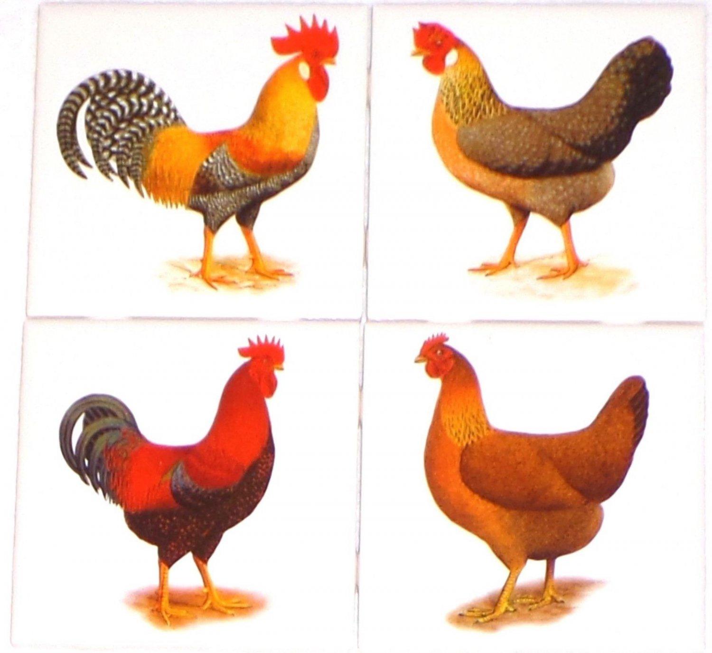 """Rooster and Hen Set of 4 Ceramic Tile 4.25"""" Kiln Fired Back Splash Chicken"""