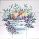 "Fruit Ceramic Tile Mural Back Splash 9pcs 4.25"" x 4.25"" Kiln Fired Decor"