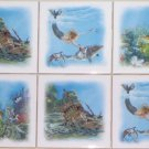 "Mermaid Ceramic Tile Mural Dolphin Treasure Ship Fish set 6 of 4.25"" Kiln Fired"