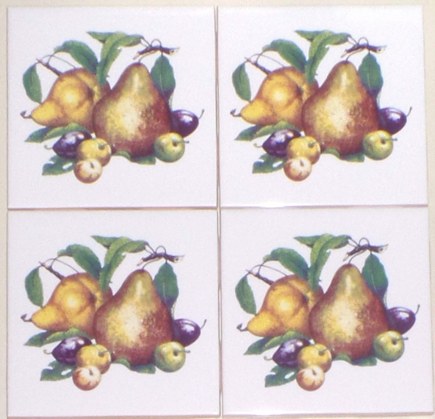 """CLOSEOUT Pear Ceramic Tile Accent 4.25"""" set of 4 Fruit Plums Kiln Fired Decor"""