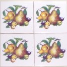 "CLOSEOUT Pear Ceramic Tile Accent 4.25"" set of 4 Fruit Plums Kiln Fired Decor"