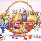 "Bountiful Fruit 15 pc Ceramic Tile Mural 4.25"" Kiln Fired Decor Back Splash"