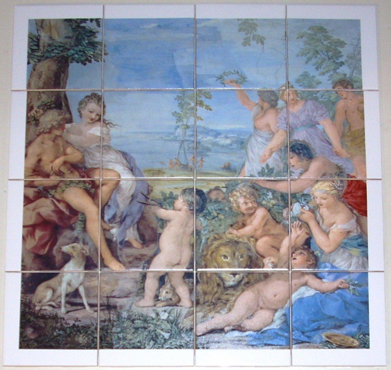 """Mythology Ceramic Tile Mural 16 pcs 4.25"""" Kiln Fired #1 Beautiful 17"""" x 17"""""""