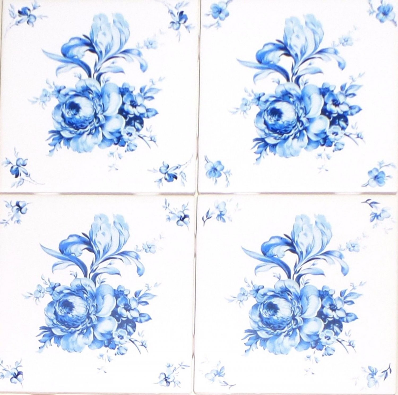 """Blue Swansea Flower Accents 4 of 4.25"""" Ceramic Tile Mural Kiln Fired Decor"""