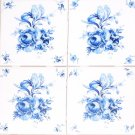 "Blue Swansea Flower Accents 4 of 4.25"" Ceramic Tile Mural Kiln Fired Decor"