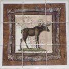 """Alaskan Moose Ceramic Tile Mural 9pc 4.25"""" x 4.25"""" Kiln Fired Back Splash Decor"""