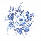 "Blue Delft Vintage Rose Ceramic Tile 4.25"" Kiln Fired Flower Decor"