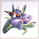 "Hummingbird Lavender Iris Flower Bird Ceramic Tile Accent 4.25"" Kiln fired Decor"