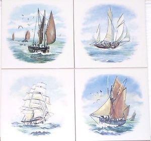 "Sailing Ship Ships set of 4 Ceramic Tile  size 6"" x 6"" Decor Nautical"