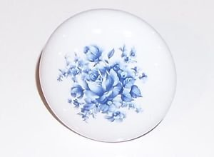 "Blue Delft Flower Porcelain Ceramic Knob Drawer Pull 2"" Kiln Fired"