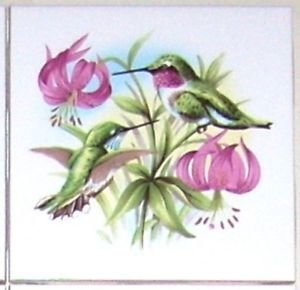 "Green Hummingbird Pink Flowers Bird Ceramic Tile 4.25"" Kiln Fired Humming Bird"