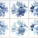 CLOSEOUT Delft Dark Blue Ceramic Tile Mural Backsplash 6 pcs Grapes Fruit Kiln fired