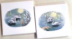 "CLOSEOUT Pretty Swan Set of 2 Kiln Fired Ceramic Accent Tiles 4.25"" x 4.25"" Bird"