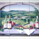 "Wine Ceramic Tile Mural Grapes Vineyard Window Back splash 6 of 6"" Kiln Fired"