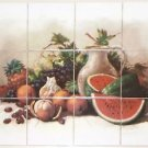 "Closeout Master's Fruit Ceramic Tile Mural 12/ 4.25"" Grapes Wine Kiln Fired Back Splash 2"