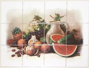 "Closeout Master's Fruit Ceramic Tile Mural 12/ 4.25"" Grapes Wine Kiln Fired Back Splash 2"