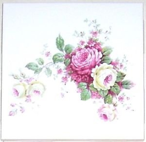 "CLOSEOUT Pink Delicate Roses Rose Ceramic Tile 4.25"" Flower Kiln Fired Back Splash Accent"