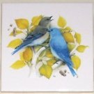 "Pretty Blue Birds Bird Yellow Leaves 4.25"" Kiln Fired Decor Mottles"