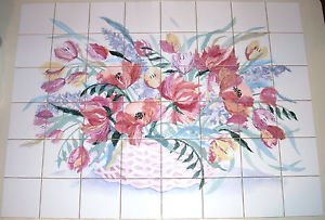 "Poppy Flower Basket Ceramic Tile Mural Kiln Fired 48 pc / 4.25"" Backsplash"