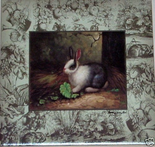 "Closeout Black and White Bunny Rabbit Ceramic Tile Acct 4.25"" Hare Kiln Fired"