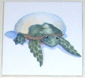 "Closeout Sea Turtle 4.25"" Kiln Fired Ceramic Tile Green Hatching Egg"