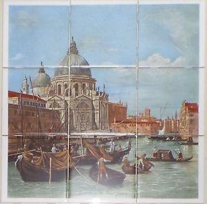 """Italy Venice Canaletto 9 pc 4.25"""" x 4.25"""" Ceramic Tile Mural Back Splash Decor"""