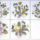 "CLOSEOUT Herb Ceramic Tile Herbs Butterflies Caparis Spinosa 4.25"" Kiln Fired set of 5"